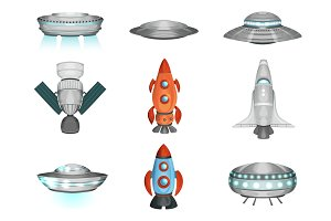 Detailed collection of spaceships in flat style