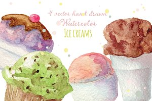 4 Watercolor ice creams, vectorized