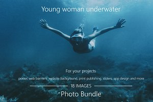 Young woman underwater Photo Bundle.