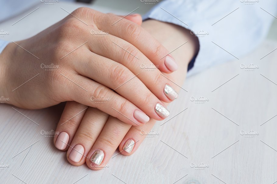 Female Hands With Manicure And Pink Polished Nails Beauty