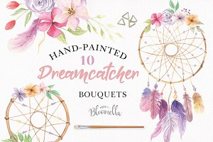 Dreamcatcher Watercolor Feather Set