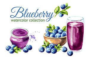Blueberry. Watercolor collection