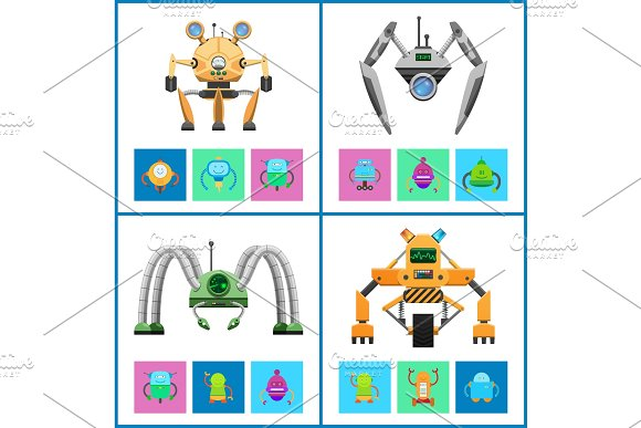 Droids Four Vector Illustrations, Colorful Posters