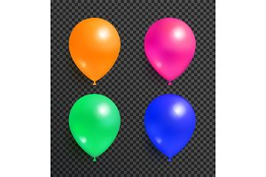 Set Flying Balloons of Orange Pink Green and Blue