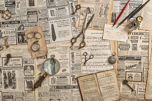 Antique collectible goods books keys