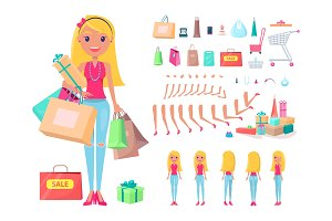 Shopaholic Girl with Shopping Bags and Carts Set