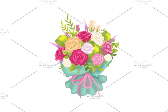 Luxury Bouquet with Rose Flowers in Decor Wrapping