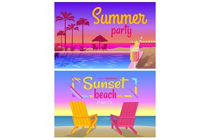 Summer Sunset Beach Party Promotional Banners