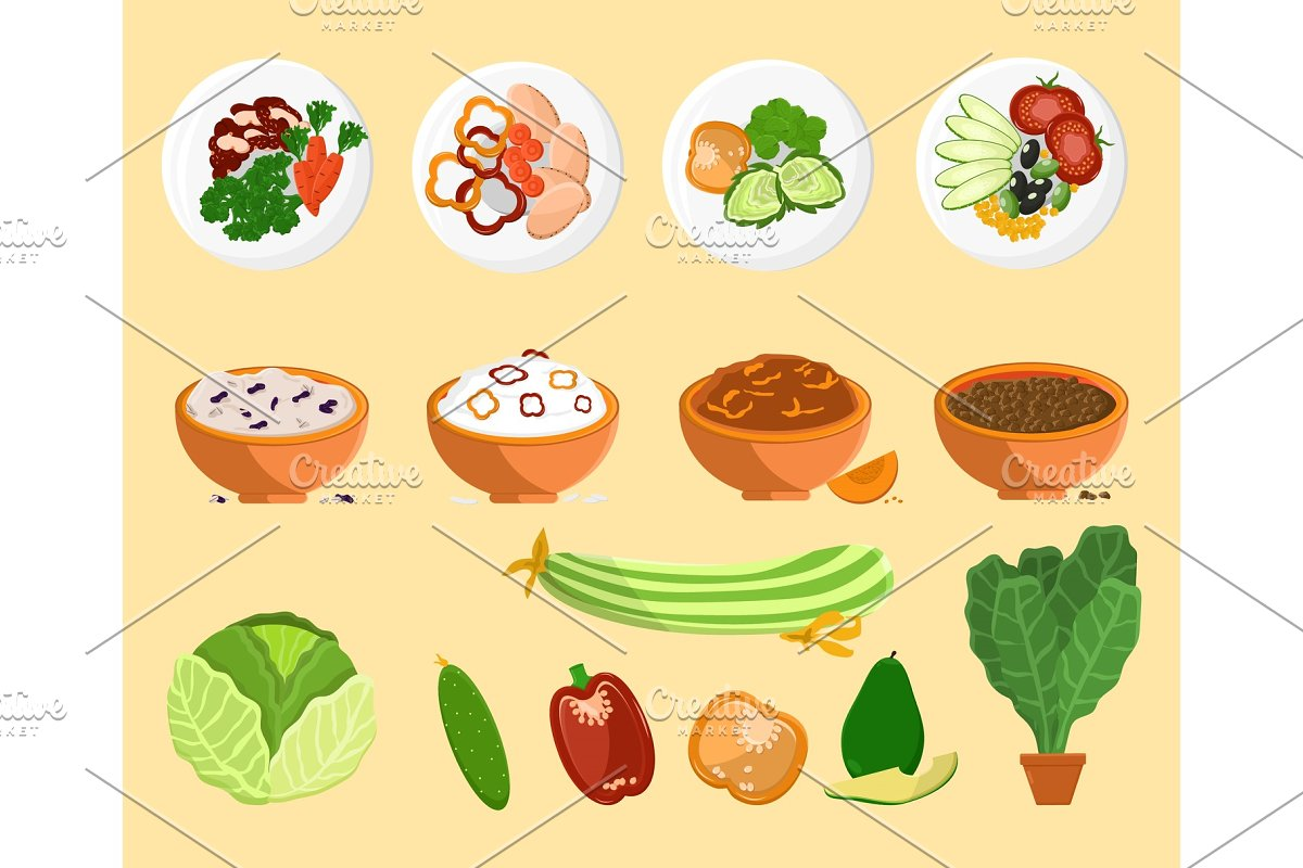 Avocado and Dishes Collection Vector Illustration