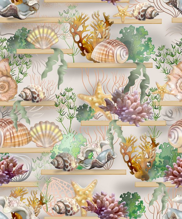 seamless pattern of shells and coral