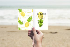 Pineapple quote+seamless background