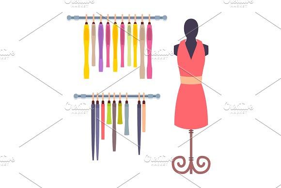 Shop Window in Women Clothing Store Mannequin Set