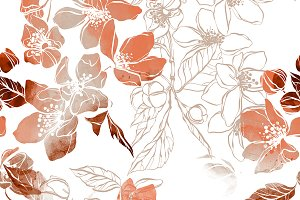 flowering plum seamless | JPEG