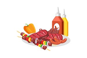 Barbecue Food on White Plate, Vector Illustration