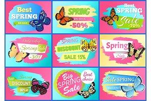Sale Spring Discounts Set Vector Illustration