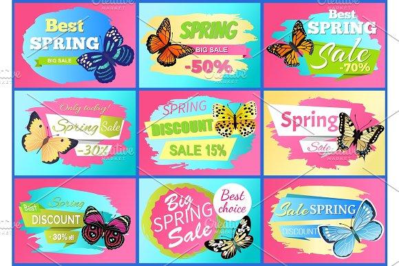 Sale Spring Discounts Set Vector Illustration in Illustrations