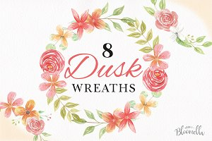 Dusk Floral Wreath Watercolor Set