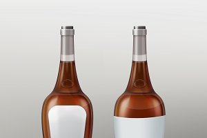 Bottles with empty labels