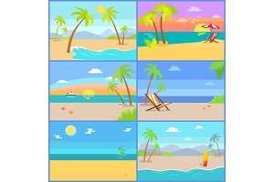 Tropical Summer Vector Illustrations Set Mountains