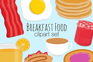 Breakfast Food Clipart Illustrations