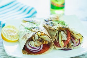 Plate of traditional Greek gyros
