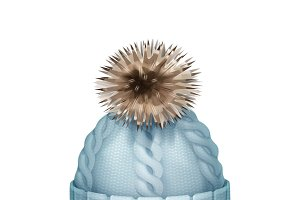 Blue knitted cap with pom-pom