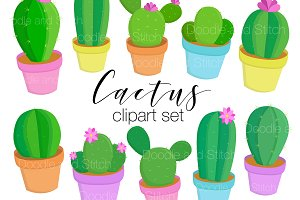 Cute Cactus Clipart Illustrations