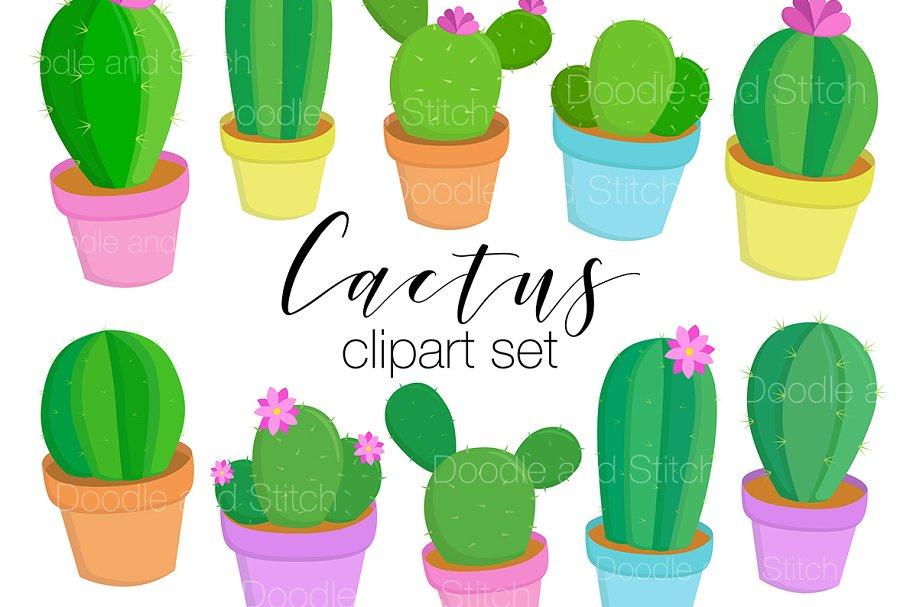 Plant cactus. Cute clipart illustrations