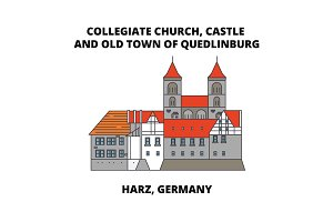 Collegiate Church, Castle, And Old Town Of Quedlinburg line icon concept. Collegiate Church, Castle, And Old Town Of Quedlinburg flat vector sign, symbol, illustration.