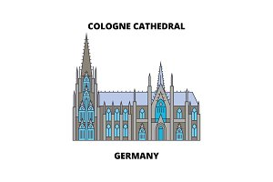 Cologne Cathedral, Germany  line icon concept. Cologne Cathedral, Germany  flat vector sign, symbol, illustration.