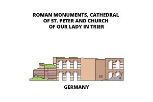 Germany, Cathedral Of St. Peter And Church Of Our Lady In Trier line icon concept. Germany, Cathedral Of St. Peter And Church Of Our Lady In Trier flat vector sign, symbol, illustration.