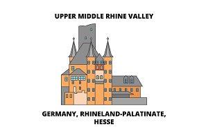 Germany, Rhineland-Palatinate, Hesse, Upper Middle Rhine Valley line icon concept. Germany, Rhineland-Palatinate, Hesse, Upper Middle Rhine Valley flat vector sign, symbol, illustration.