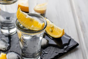 Vodka shots with lemon