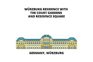 Germany, Wurzburg Residence line icon concept. Germany, Wurzburg Residence flat vector sign, symbol, illustration.