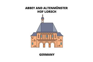 Abbey, Lorsch, Germany line icon concept. Abbey, Lorsch, Germany flat vector sign, symbol, illustration.