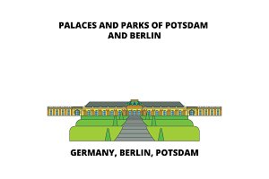 Germany, Berlin, Potsdam, Palaces And Parks line icon concept. Germany, Berlin, Potsdam, Palaces And Parks flat vector sign, symbol, illustration.