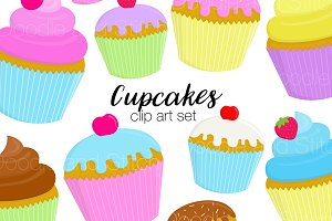 Cupcakes Clipart Illustration Set