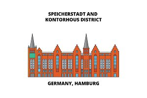 Germany, Hamburg, Speicherstadt District line icon concept. Germany, Hamburg, Speicherstadt District flat vector sign, symbol, illustration.