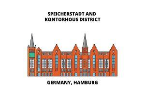 Germany, Hamburg, Speicherstadt District line icon concept. Germany, Hamburg, Speicherstadt District flat vector sign, symbol, illustration.