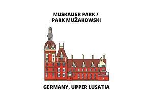 Germany, Lusatia, Park Muzakowski line icon, vector illustration. Germany, Lusatia, Park Muzakowski flat concept sign.