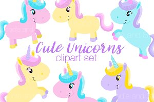 Cute Unicorns Clipart Illustrations