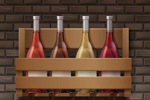 Wine bottles and glasses on shelf