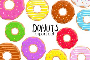 Donut Clipart Illustration set