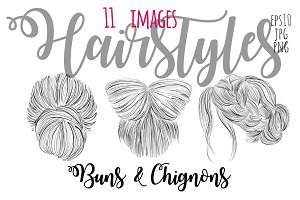 Hairstyles: buns and chignons vector