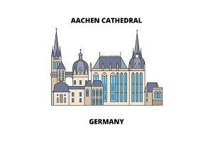 Aachen Cathedral, Germany line icon concept. Aachen Cathedral, Germany flat vector sign, symbol, illustration.