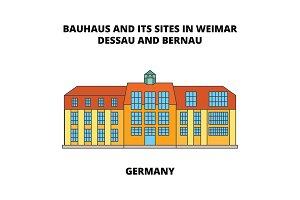 Bauhaus  Dessau unesco   Germany line icon concept. Bauhaus  Dessau unesco   Germany flat vector sign, symbol, illustration.