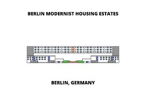 Berlin Modern Houses  line icon concept. Berlin Modern Houses  flat vector sign, symbol, illustration.
