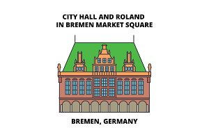 City Hall And Roland In Bremen Market Square, Bremen, Germany line icon concept. City Hall And Roland In Bremen Market Square, Bremen, Germany flat vector sign, symbol, illustration.