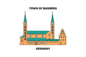 Germany, Town Of Bamberg line icon concept. Germany, Town Of Bamberg flat vector sign, symbol, illustration.