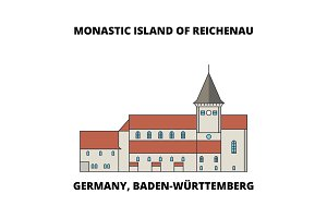Germany, Baden-Wurttemberg, Monastic Island Of Reichenau line icon concept. Germany, Baden-Wurttemberg, Monastic Island Of Reichenau flat vector sign, symbol, illustration.